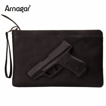 3D Print Gun Bag women messenger bags Designer clutch purse famous brand women bag ladies Envelope Clutches With Strap or Chain