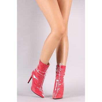 Wild Diva Lounge Ruched Transparent Wrap Stiletto Boots