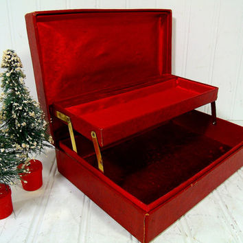 Vintage Christmas Red Two Level Jewelry Box - Retro Mele Style Display Case with Gold Tooling Trim - Dark Red Satin & Velvet Lined Interior