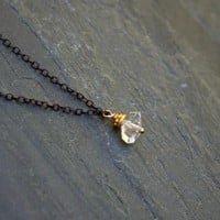 Modern Raw Crystal Herkimer Diamond Necklace Oxidized Sterling Silver Chain