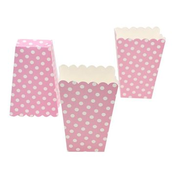 Hot 1bag 12pcs Pink Dot popcorn box Party Supplies popcorn box Birthday Party Supplies Party/Food/Retro/Hollywood/Movie/Treat
