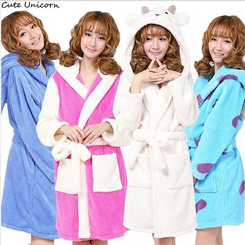 Unisex Panda Stitch Cow Sheep Nightgown Cartoon Robes men women Gown Long Sexy robe Animal Sleep Robe femme homewear Bathrobe
