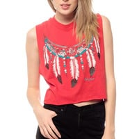 Feather Crop Top 80s Tank Red Southwest Arizona Shirt Cut Off 1980s Southwest Vintage Native American Boho Hippie Crop Extra Small Medium XS