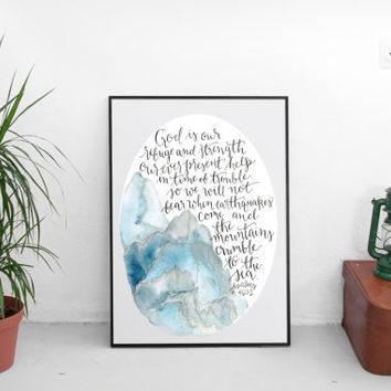 Psalms 46, wall art print, inspirational wall art, bible verse, scripture art, christian art, hand lettering, mountain art, dorm decor