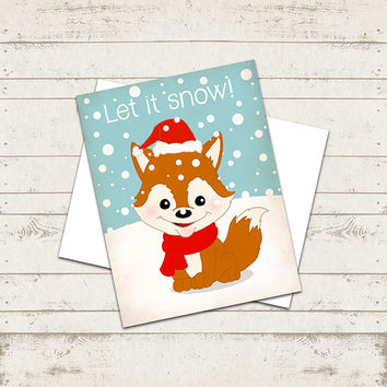 "Christmas Greeting Card - Let it SNOW  - Cozy Fox -  5.5""X4.25"" - Illustration- Folded Card"