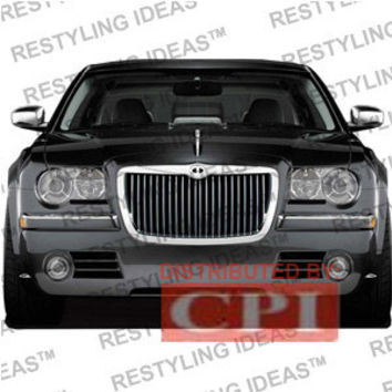 Chrysler 2004-2008 Chrysler 300/300C Chrome Vertical Thin Bar Abs Grille Performance