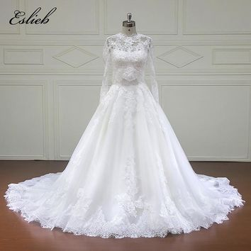 Eslieb Custom made Good Quality Wedding Dresses with jacket Appliques Bridal Gowns Vestido De Novias Wedding Dress xfm015A
