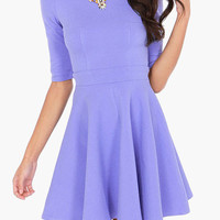 Lavender High-Waisted Casual Skater Dress