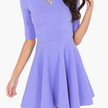Lavender High-Waisted Casual Skater Dress from Mesh & Lace