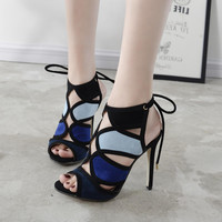Summer Fashion Roman Women Multicolor Hollow Straps Exposed Toe Sandals Heels Shoes