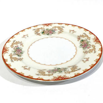 Noritake China Floral Salad Plate, Set Of 8, Soft Pink Blue Yellow Flowers, Red Edging Gold trim, Made In Occupied Japan, Vintage 1940's