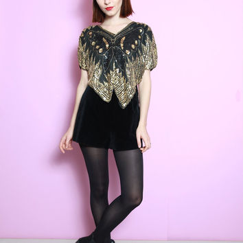 Vintage 1980's Black and Gold Sequin Butterfly Party Top