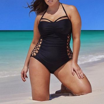 2018 Women Swimwear One Piece Swimsuit Plus Size 3XL 4XL One Piece Female Swimming Black Bandage Bathing Suit May Beach Bodysuit