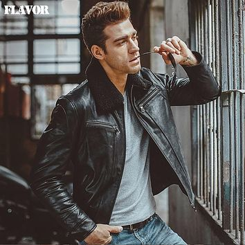 Men's black real leather jacket fur collar Genuine Leather jacket padding cotton winter warm coat