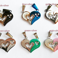 Fashion Accessories, Engraved Hearts Titanium Steel Puzzles Necklace, Customized Couples Necklace