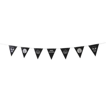 7pcs Pull Flags Creative Triangle Hanging 3.5M Spider Decorative Skull Pumpkin Festival Flag Props Banner for Party Halloween