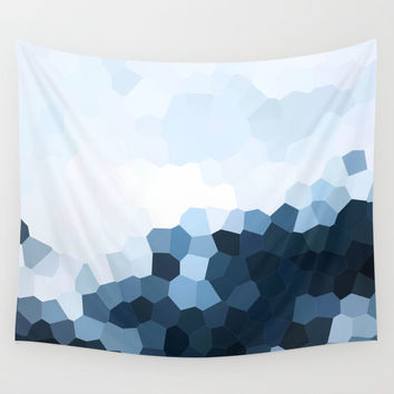Icy Blue Ombre Geometrics Wall Tapestry by Elizabeth Schulz