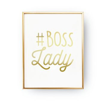 #Boss Lady Art Print in Real Gold Foil