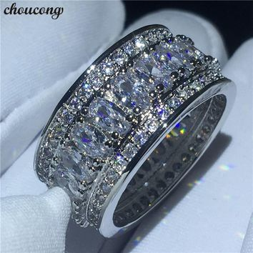 choucong 2018 Luxury Round Ring 5A Zircon Cz White Gold Filled Engagement Wedding Band Rings for women men Finger Jewelry