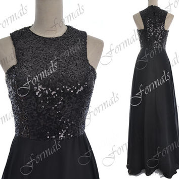 Sequin Prom Dresses, 2014 Black Prom Gown, Straps Long Sequin Chiffon Black Prom Dresses, Black Evening Gown, Black Sequin Formal Gown