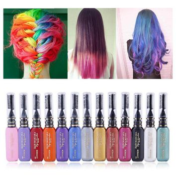 Women Beauty Hair Color Hair Dye Color Temporary Non-toxic DIY Hair Cream Party Dye Pen 7662
