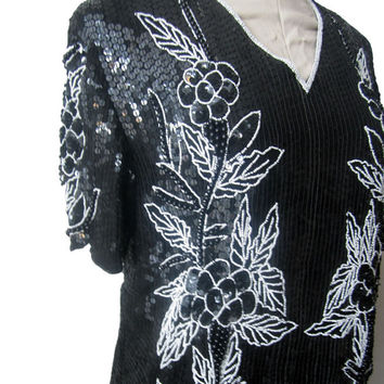 Stenay Sequin Skirt and Blouse Floral Separates. Black with White Floral Design, Rocker Retro 80s Evening Wear.