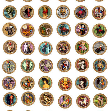 vintage Cowgirls rope frames clip art digital image download COLLAGE SHEET 1 inch circles western pinup girls printables bottle caps