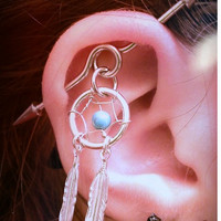Industrial Dream Catcher Barbell Piercing Upper Double Ear Piercing