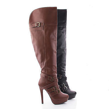 Gilly97 Brown Pu By Wild Rose, Over Knee Multi Buckle Platform Stiletto Heel Boots