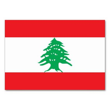 Patriotic table card with Flag of Lebanon