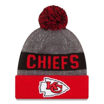 Kansas City Chiefs New Era On Field Sideline Sport Knit Pom Beanie Hat 2016 NFL