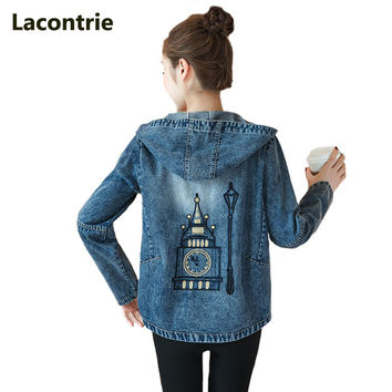 Lacontrie 2017 New Spring Women Jean Jacket Long-sleeved Casual Cowboy Jacket Cartoon Embroidered Hooded Short Denim Jacket T061