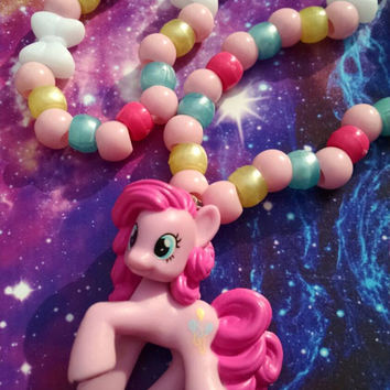 My Little Pony Pinkie Pie Inspired Kandy Stretch Necklace Fun Kandi Japanese Street Fashion Decora Bows Hearts Pink Yellow Blue White