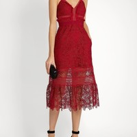 Red Embroidered Lace Midi Dress