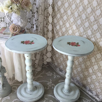 Shabby Round Pedestal Tables, End Stands, Nighstand, accent table, chippy distressed cottage chic