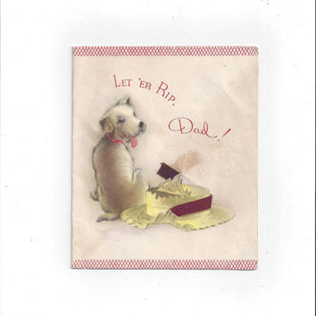 Vintage 1940s Father's Day Card with Cute Dog & Grosgrain Ribbon by Golden Bell, Unsigned, Double Fold, Vintage Greeting Card, Father's Day
