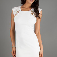 Fitted Short Sleeveless Ivory Dress by Ruby Rox