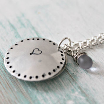 "Remembrance Locket, Memorial, Miscarriage, Loss of Loved One, Cupped Disk ""all that we love deeply becomes part of us"" Hand Stamped Necklace"