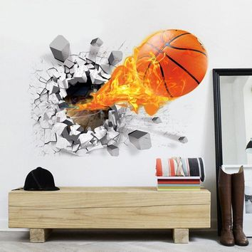 50 X70cm Wall Decals Home Decor  PVC 3D Wall Poster  Basketball Wall Stickers for Kids Rooms