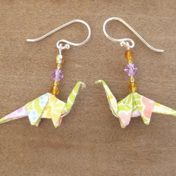 Dinosaur Jewelry Light Green Earring Origami Kawai