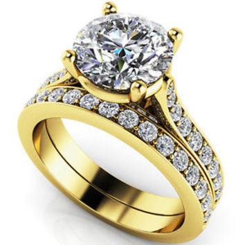2.75 Ct Big Round Cut CZ Bridal Engagement Wedding Ring Sets In 14k Yellow Gold