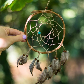 Small Feather Dreamcatcher - Boho Bohemian Wall Hanging Dreamcatcher Baby Tribal Crib Nursery Car Baby Feathers  Baby Boy Girl