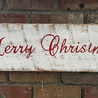 Hand painted - Merry Christmas sign on reclaimed barn wood - holiday decor - Christmas decor
