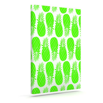 "Anchobee ""Pinya Neon Green"" Lime Pattern Canvas Art"