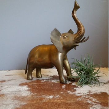 Large Brass Elephant Figurine with Upturned Trunk
