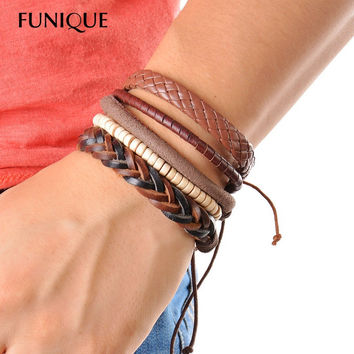 Leather Multilayer Beaded Wrap Bracelet 1Set (3-4PCs)