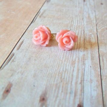 S A L M O N - Light Coral Pink Peach Rose Flower Post Earrings