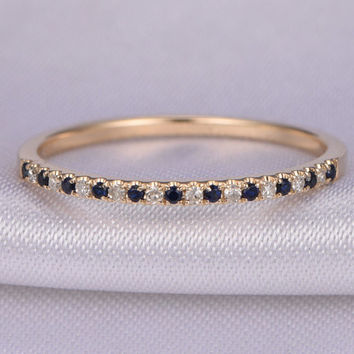 Half Eternity Sapphire & diamond Wedding ring,Anniversary ring,14k yellow gold,Matching Band,Infinity Ring,Stackable Ring,Custom ring