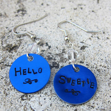 Dr Who Quote  Hello Sweetie  Hand Stamped by DesignByAnyOtherName