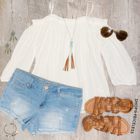 Elvia Off The Shoulder Top - White